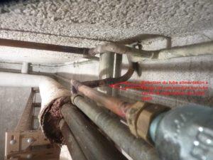 Reprise Tube cuivre en cave depuis un tube Galva